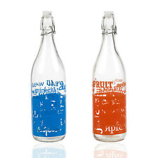 Retro Style Glass Juice Bottle With Swing Top Lid Metal Clamp Storage Container
