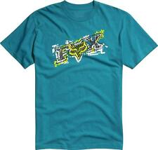 Fox Racing Alarmed Tee Mens Turquoise Blue Graphic T-Shirt New NWT