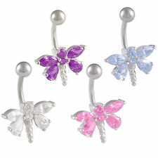surgical steel belly rings button navel piercing cute jewellery CZ crystal 9PVF