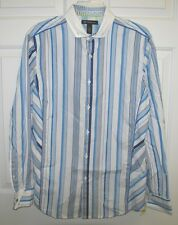 NWT INC INTERNATIONAL CONCEPTS L/S BUTTON UP SHIRT FRENCH CUFF WHITE STRIPE $60