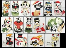 Lorna Bailey Ceramic Cats Wall Plaque Snowman Xmas Sign Presents Signed Numbered