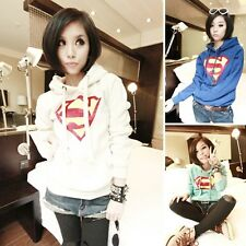 Hot sell Womens Cute Superman Logo Hoodie Casual Pullover Coat Tops Outwear