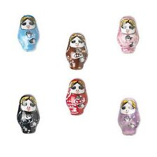 6 Hand Painted 1 inch Porcelain Russian Nesting Doll Beads with 2.5mm Hole