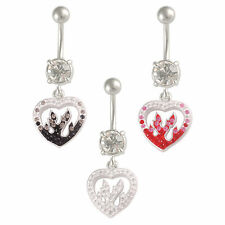 Surgical steel belly rings Heart Crystal button dangle navel bars piercings 9LYZ