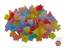14mm Acrylic Frosted Lucite Lily Trumpet Flower Beads Mixed Colour Craft Bead ML