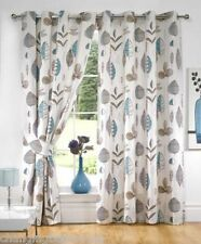RING TOP TEAL RETRO FLORAL READY MADE CURTAINS IN A CHOICE OF  8 SIZES
