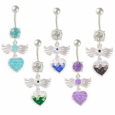 steel belly piercing dangle navel ring bar button jewellery CHOOSE COLOUR 9PWH