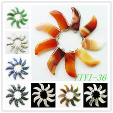 YIYI-36 Mesmerizing Mixed Gemstone Horn Pendant Bead 10PCS