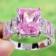 Charming Pink & White Topaz Gems Jewelry Silver Ring Size 6 7 8 9 10 11 12 13