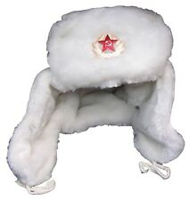 Russian White Faux Fur Ushanka Hat  Military Badge/Different sizes available