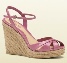 GUCCI SHOES 'PENELOPE' STRAPPY ESPADRILLE WEDGE SANDALS PINK GG LOGO