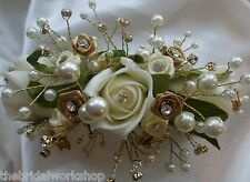 Wedding Flowers Brides Bridesmaids Rose Bling & Diamante Hair Comb Or Clip