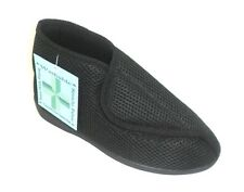 Womens Wide Fitting Machine Washable Velcro Adjustable Black Slippers Size 3-8