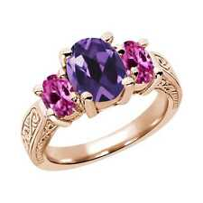2.86 Ct Oval Purple Amethyst Pink Created Sapphire 14K Rose Gold 3-Stone Ring