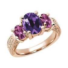 2.66 Ct Oval Purple Amethyst Pink Tourmaline 14K Rose Gold 3-Stone Ring