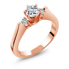 0.76 Ct Round White VS Topaz 925 Rose Gold Plated Silver 3-Stone Ring
