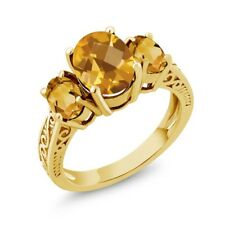 2.40 Ct Oval Checkerboard Yellow VS Citrine 14K Yellow Gold 3-Stone Ring