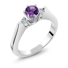 0.61 Ct Round Purple Amethyst White Topaz 14K White Gold 3-Stone Ring