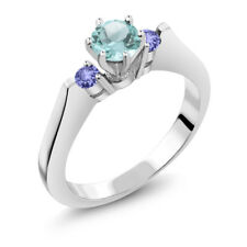 0.86 Ct Round Sky Blue Topaz Blue Tanzanite 925 Sterling Silver 3-Stone Ring