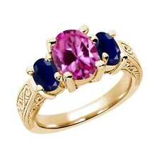 3.50 Ct Oval Pink Created Sapphire Blue Sapphire 14K Yellow Gold 3-Stone Ring