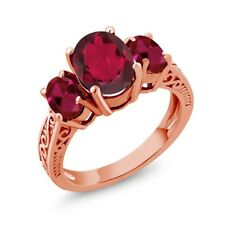 3.66 Ct Oval Red Mystic Quartz Red Created Ruby 14K Rose Gold 3-Stone Ring