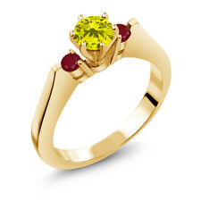 0.79 Ct Round Canary Diamond Red Ruby 14K Yellow Gold 3-Stone Ring