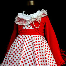 W3122 Reds Whites Girls Party Dress + Reds Cardigan SET AGE SIZE 2Y,4Y,6Y,8Y,10Y