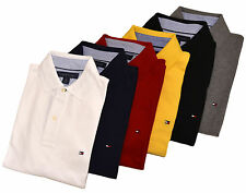Tommy Hilfiger Polo Shirt Mens Classic Fit Knit Solid Black White Blue All Sizes