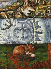 Wolf Fox 1 Pillow Panel Top Fabric UPICK wolves wildlife forest winter wood pup