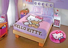 New Girls Pink Lilac Hello Kitty Teddy Bear Bunk Bed Comforter Bedding Sheet Set