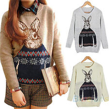 Hot Rabbit Print Knitted Sweater Jumper Tops Pullover Cardigan Knitwear BD4U