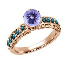 1.20 Ct Round Blue Tanzanite Diamond 14K Rose Gold Ring