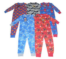 BOYS ONESIE PYJAMAS SKYLANDER BATMAN ANGRY BIRDS SPIDERMAN & SUPERMAN