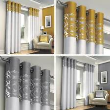 SKYE FULLY LINED MODERN EYELET CURTAINS FAUX SILK RING TOP CURTAIN PAIRS