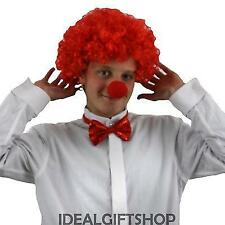 ADULTS 3 PIECE COMIC SET RED CURLY WIG + SEQUIN TIE + RED NOSE FANCY DRESS CLOWN