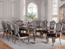 GRENOBLE CLASSICAL FORMAL FRENCH ANTIQUED PLATINUM SILVER WOOD DINING TABLE SET