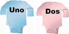 UNO AND DOS  TWINS MULTIPLES FUNNY BABY BODYSUIT SET OF 2 COLOR SIZE CHOICE NEW