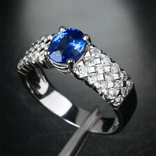 Sz 8-12 Exquisite Mens Jewelry 10KT White Gold Filled Oval Blue CZ Stone Ring