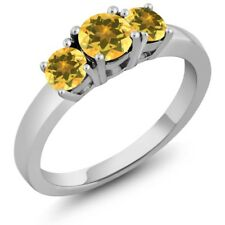 0.97 Ct Round Yellow Citrine 925 Sterling Silver Ring