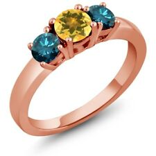 0.99 Ct Round Yellow Citrine Blue Diamond 925 Rose Gold Plated Silver Ring