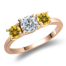 1.02 Ct Round Enhanced Diamond Yellow Citrine 925 Rose Gold Plated Silver Ring