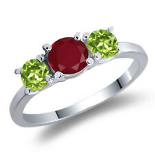 1.16 Ct Round Red Ruby Green Peridot 925 Sterling Silver 3-Stone Ring