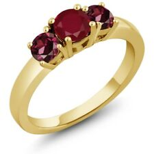 1.30 Ct Round Red Ruby Red Rhodolite Garnet 925 Yellow Gold Plated Silver Ring