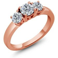 1.00 Ct Round G/H Diamond 925 Rose Gold Plated Silver Ring