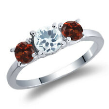 1.19 Ct Round Sky Blue Aquamarine Red Garnet 14K White Gold 3-Stone Ring