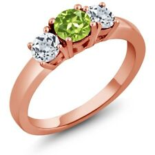 1.26 Ct Round Green Peridot White Topaz 925 Rose Gold Plated Silver 3-Stone Ring