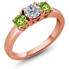 1.10 Ct Round G/H Diamond Green Peridot 925 Rose Gold Plated Silver 3-Stone Ring