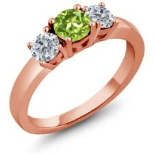1.10 Ct Round Green Peridot G/H Diamond 925 Rose Gold Plated Silver 3-Stone Ring