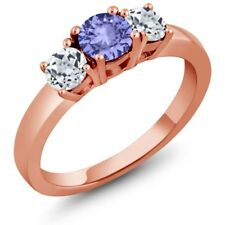 1.12 Ct Round Blue Tanzanite White Topaz 925 Rose Gold Plated Silver Ring