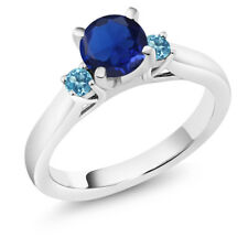 1.05 Ct Blue Simulated Sapphire Swiss Blue Topaz 14K White Gold 3-Stone Ring